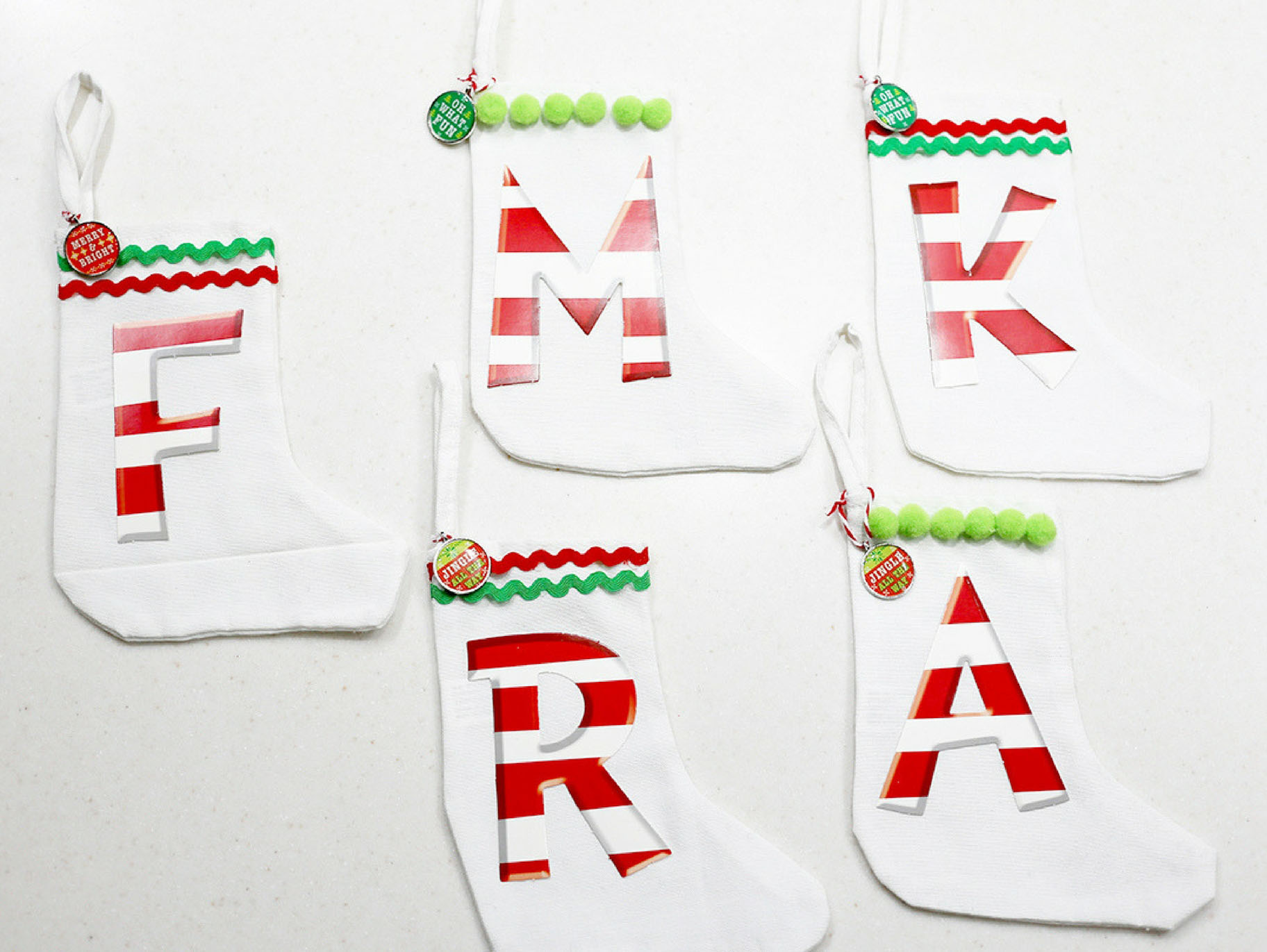 DIY Monogrammed Christmas Stocking Ornaments