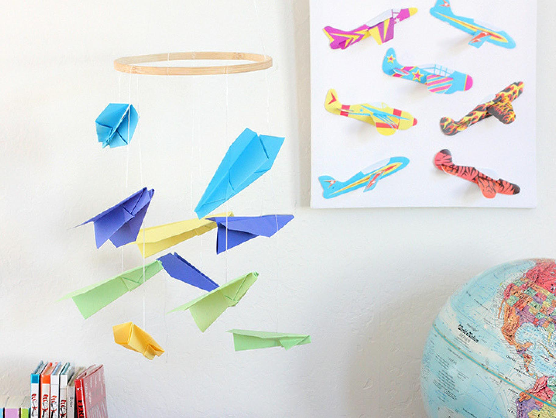 paper airplane mobile for kids room