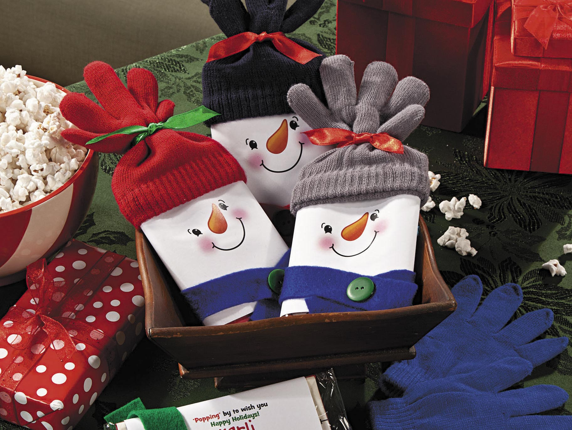 Snowman Popcorn Christmas Gift Idea