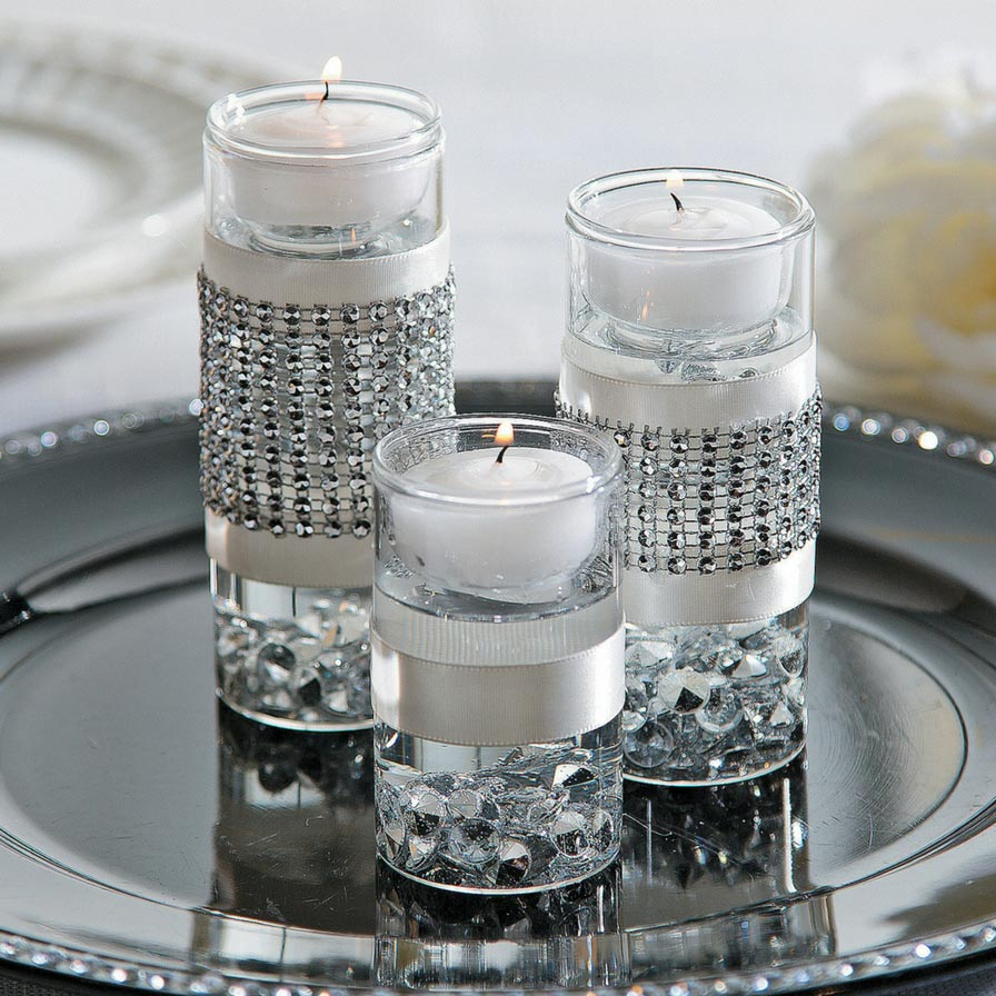 Flowers With Floating Candle Centerpieces: Cylinder Votive Holders