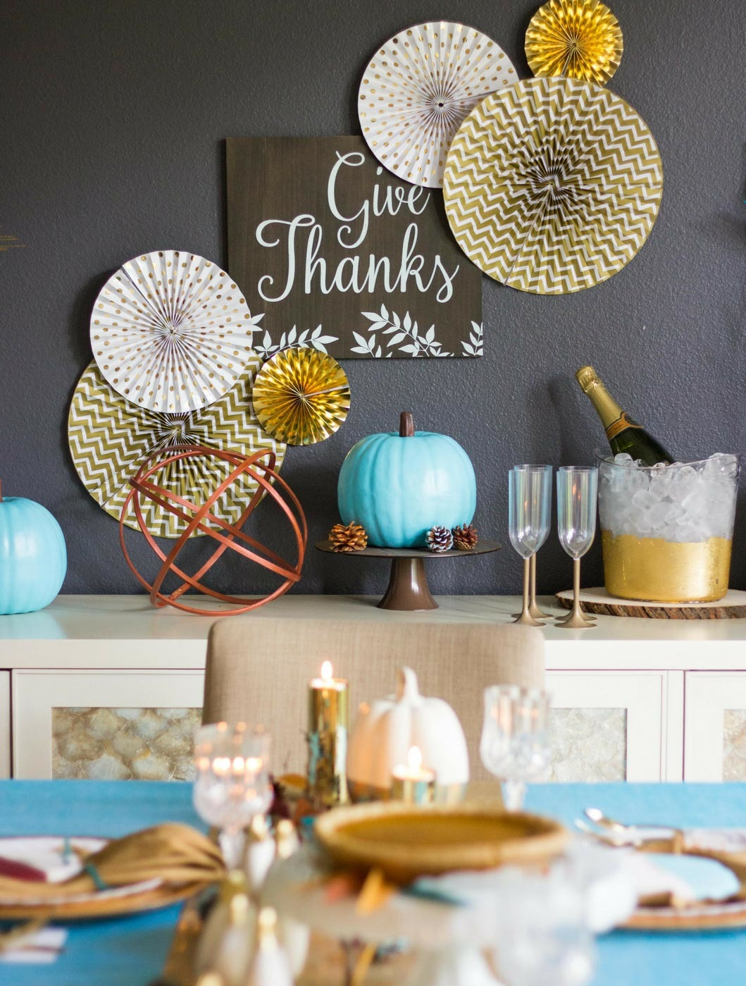 Modern Turquoise And Gold Thanksgiving Table Decor Fun365