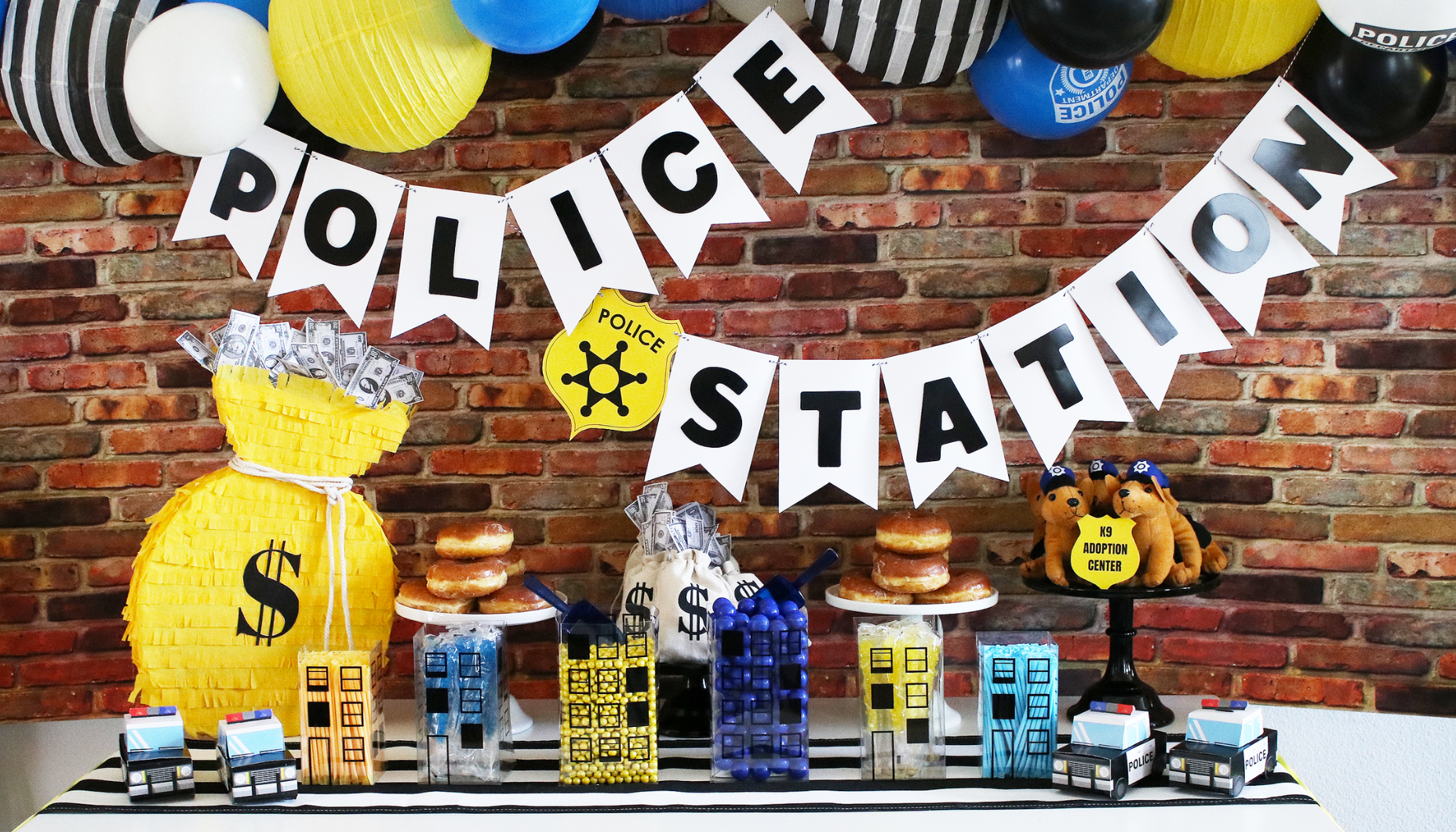 "11/"" Kids Happy Birthday party Boys Blue Black White Police Badge Car Balloons"