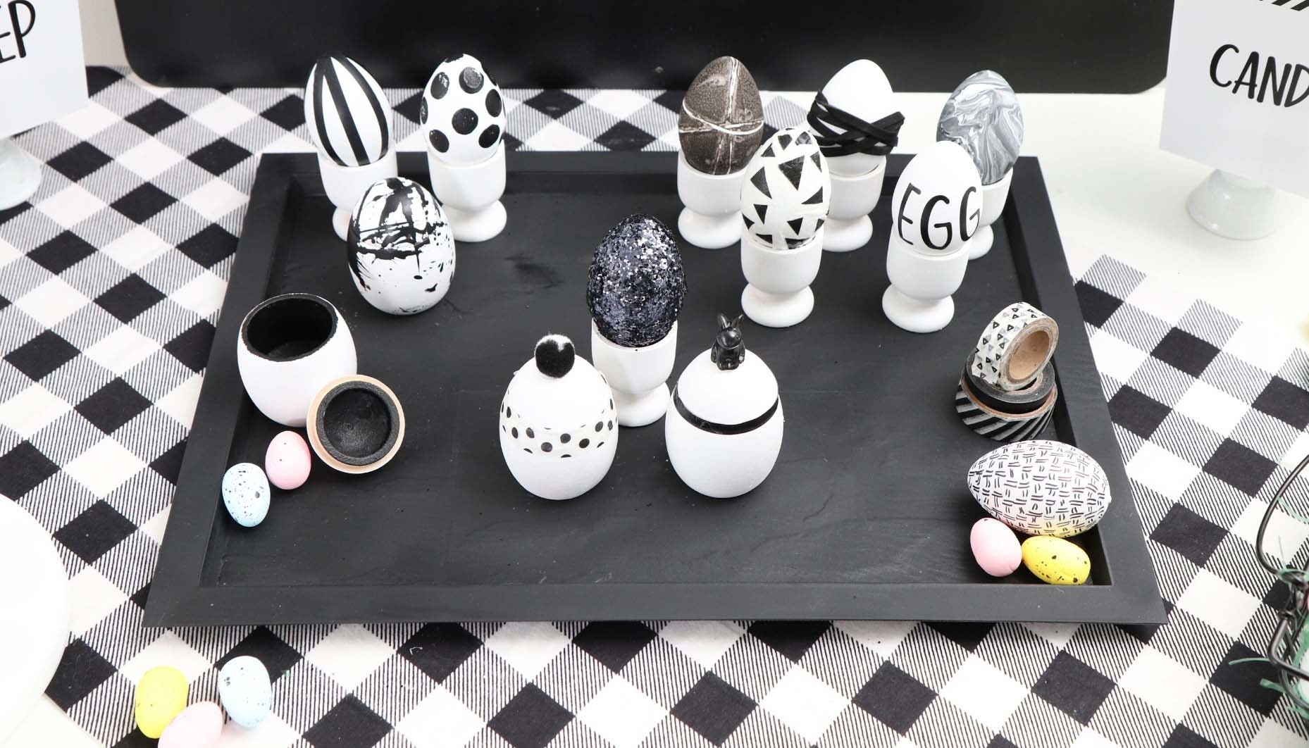 Modern Black and White Easter Egg Decorating Ideas - get details and more Easter activity ideas now at fernandmaple.com!