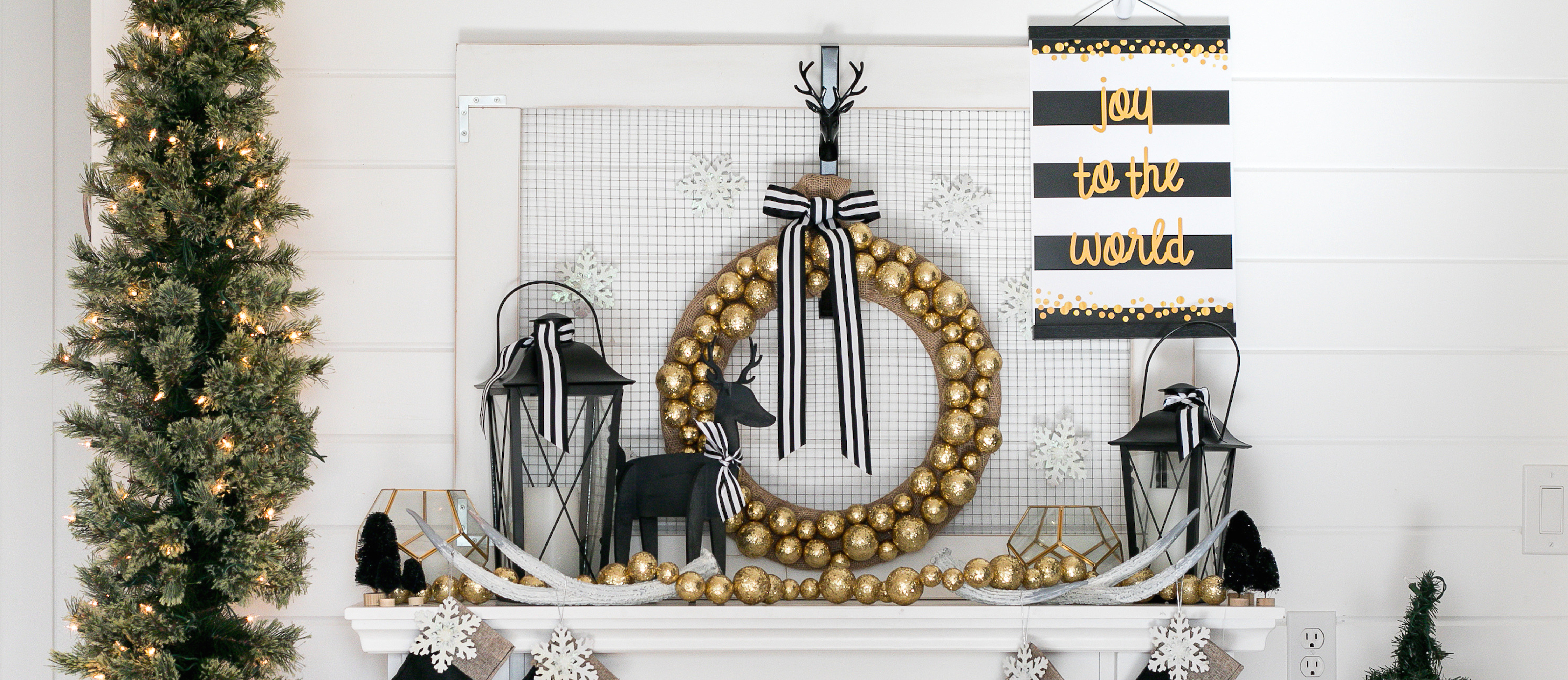 Black And Gold Christmas Mantel Fun365