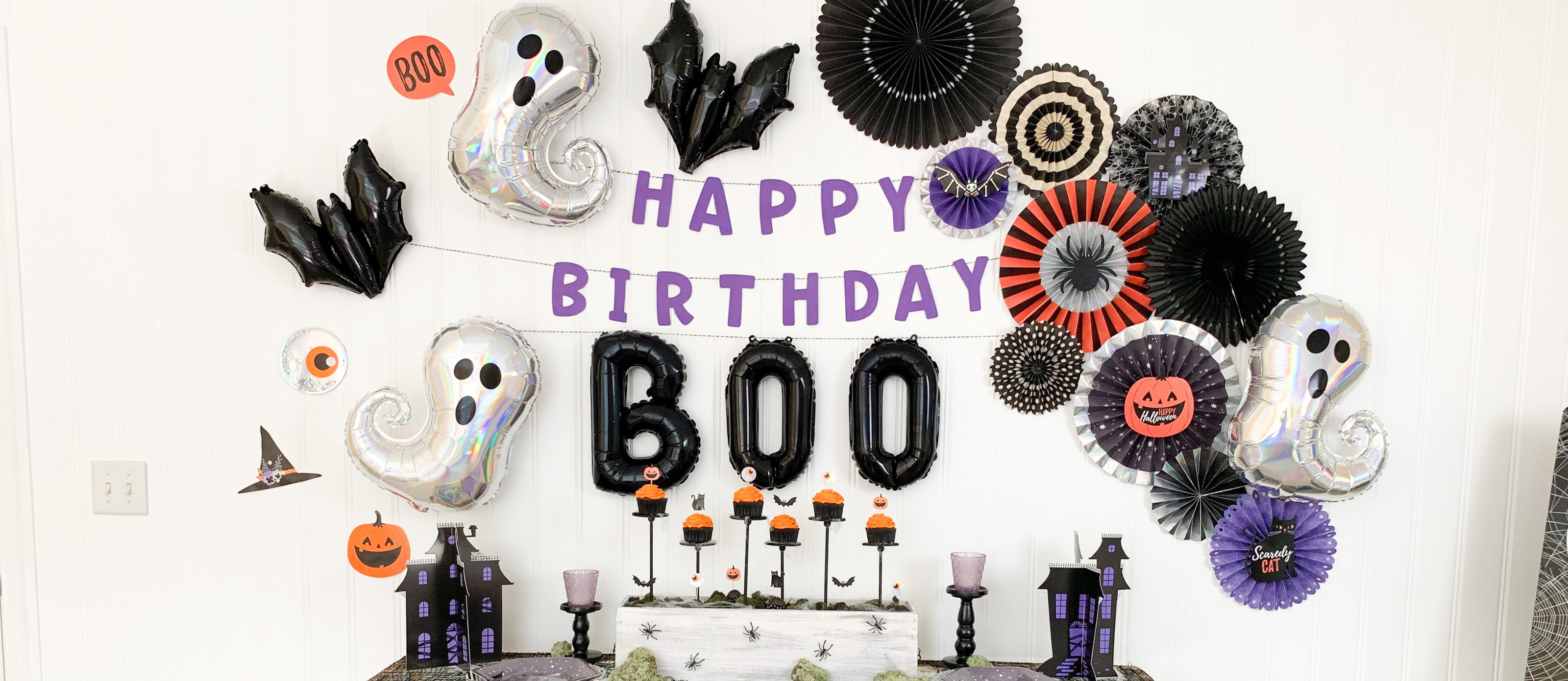 Black Glittery Here For The Boos Banner,Halloween Party Decor Haunted House Decorations