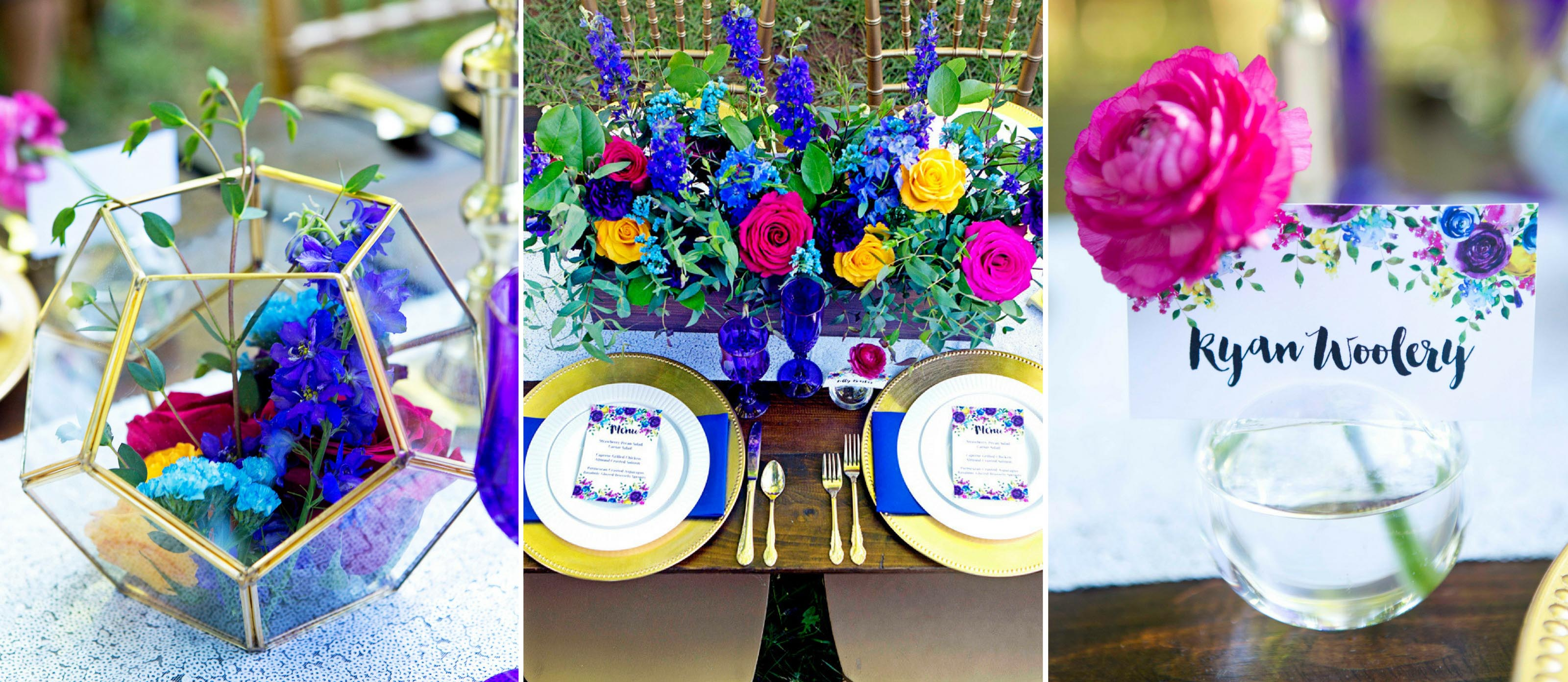 Jewel Tone Wedding Place Settings And Centerpiece Ideas Wedding