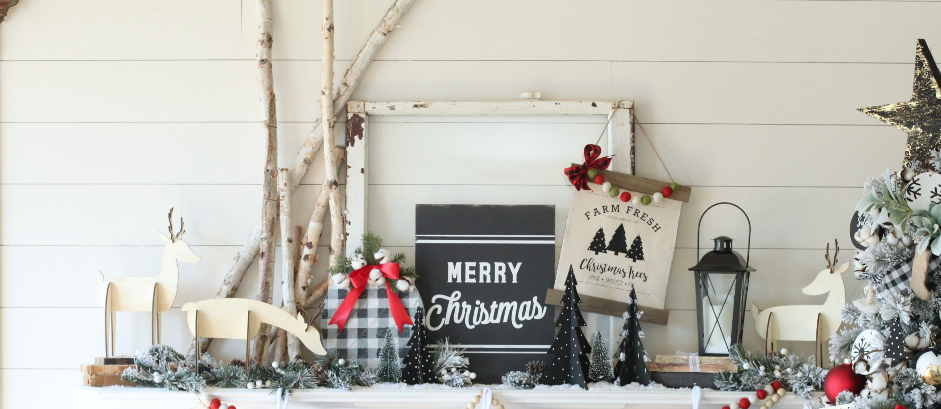Modern Black And White Farmhouse Christmas Mantel Fun365
