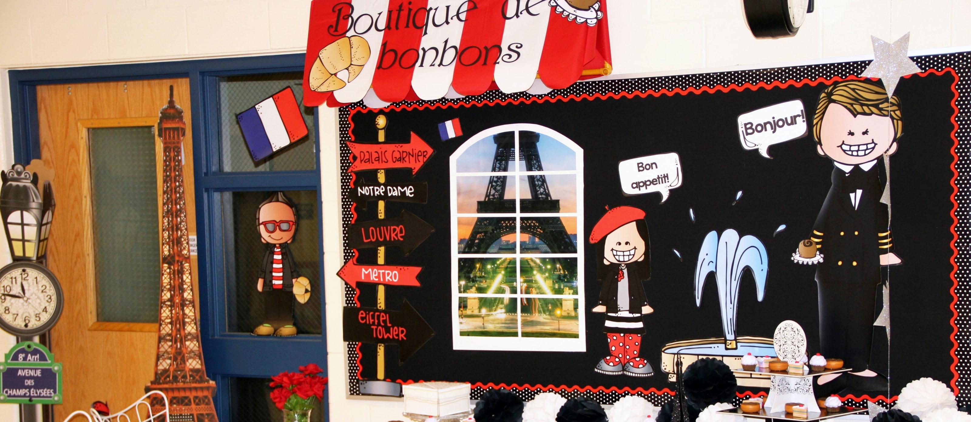 School Theme Paris France Bulletin Board Fun365