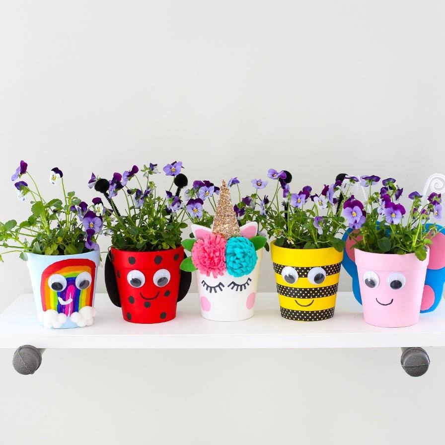 5 Spring Flower Pots Kids Craft Fun365
