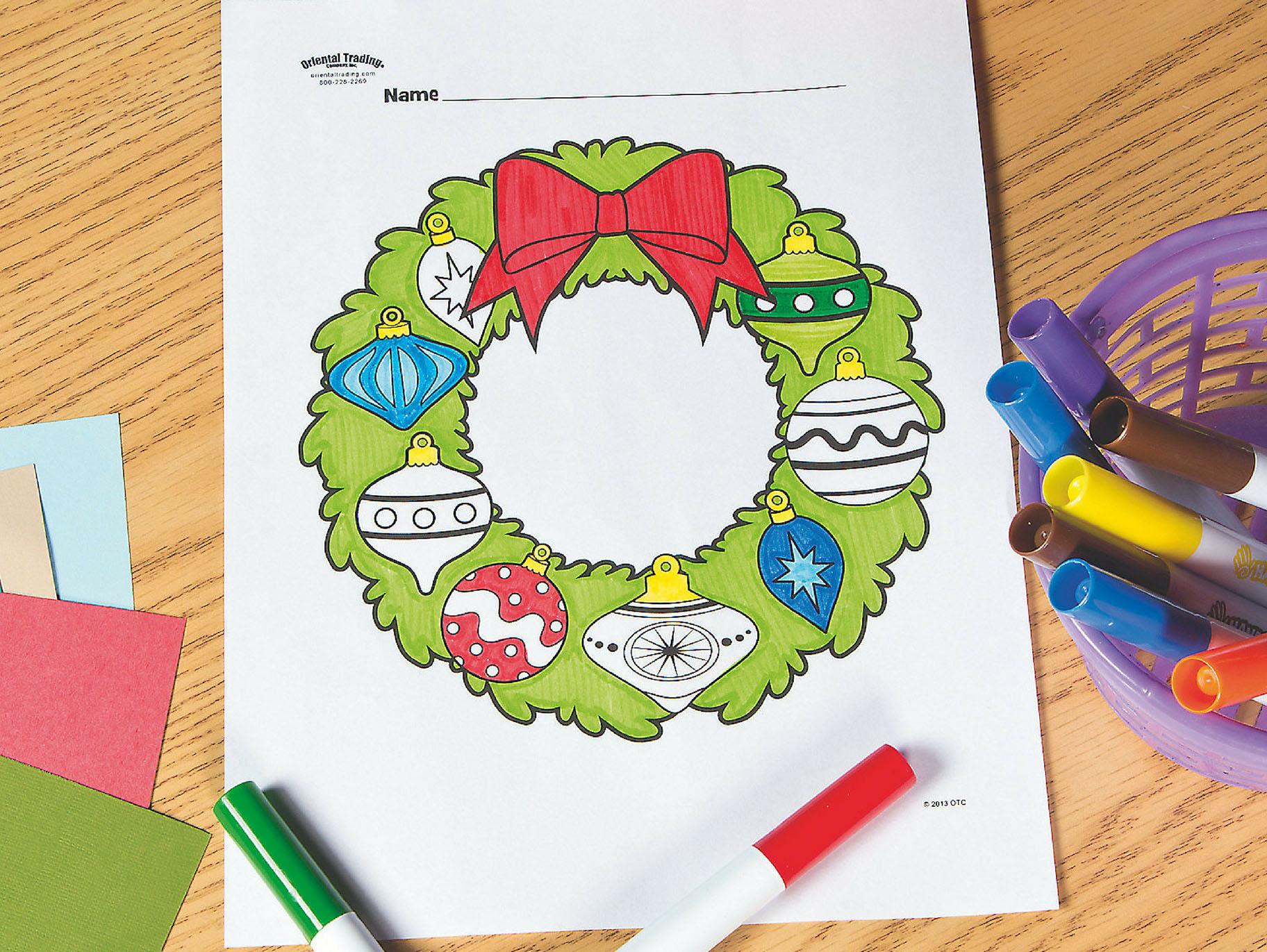 Christmas Wreath Free Printable Coloring Page Fun365