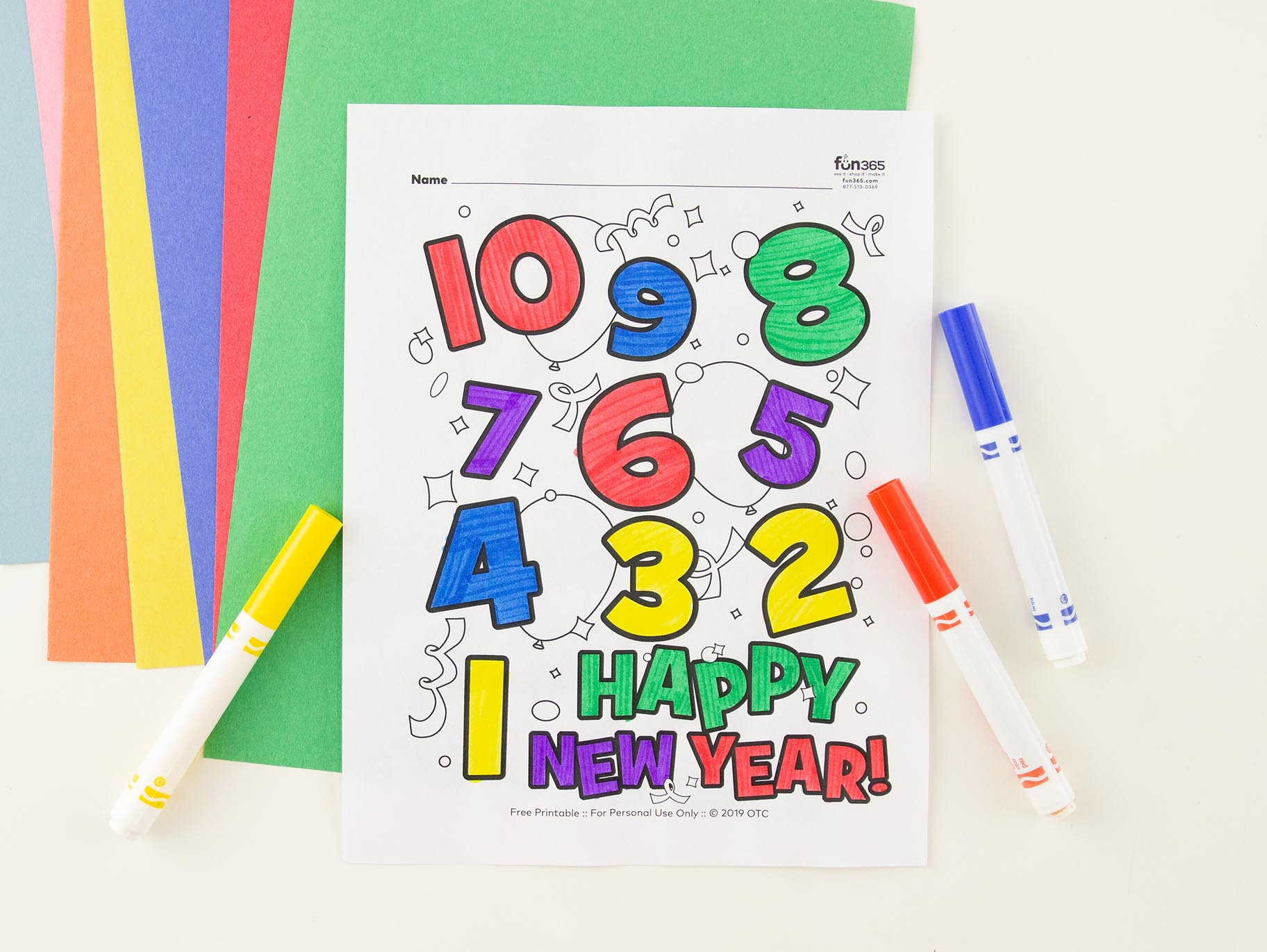 New Years Eve Countdown Coloring Page Free Printable Fun365