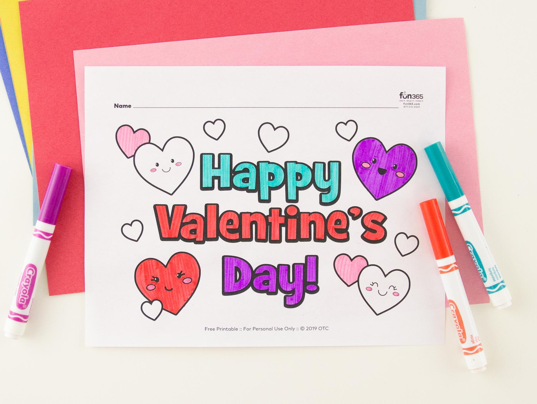 Happy Valentine S Day Hearts Coloring Page Free Printable Fun365