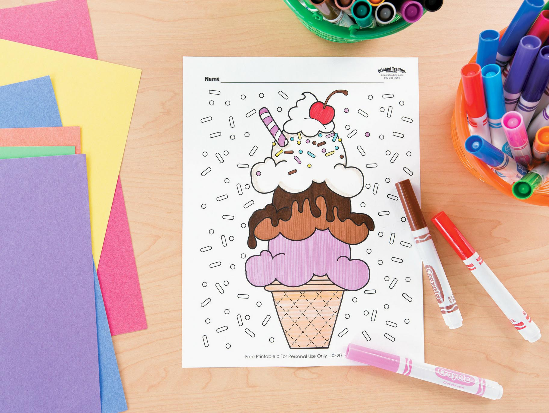 Ice Cream Free Printable Coloring Page Fun365