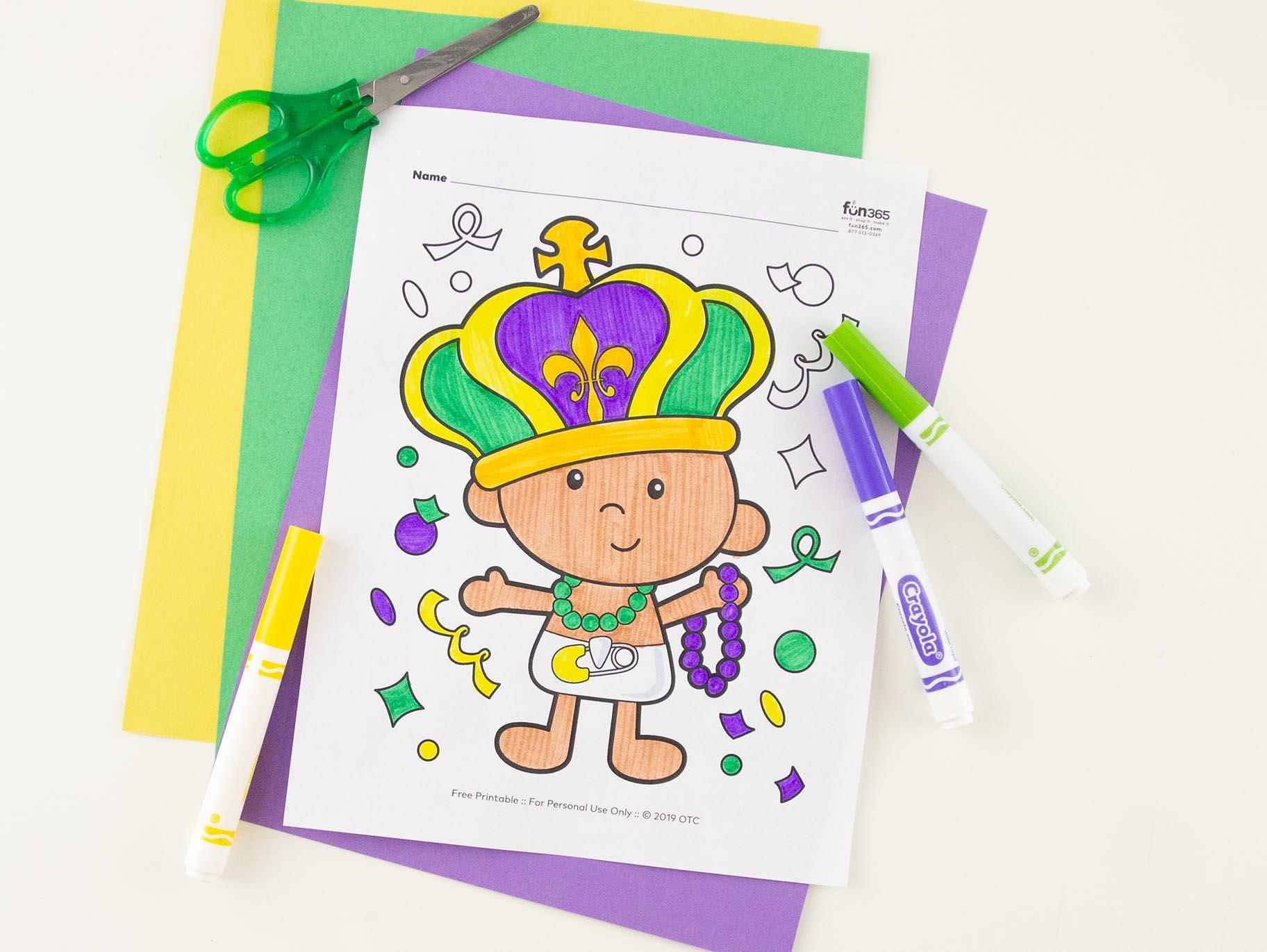 Mardi Gras King Cake Baby Coloring Page Free Printable Fun365