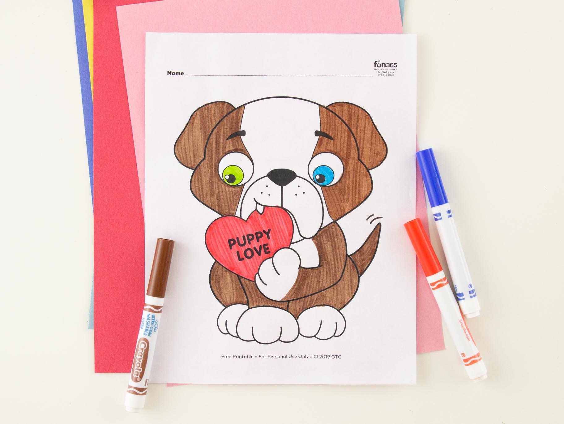 Valentine Dog Coloring Page Free Printable Fun365