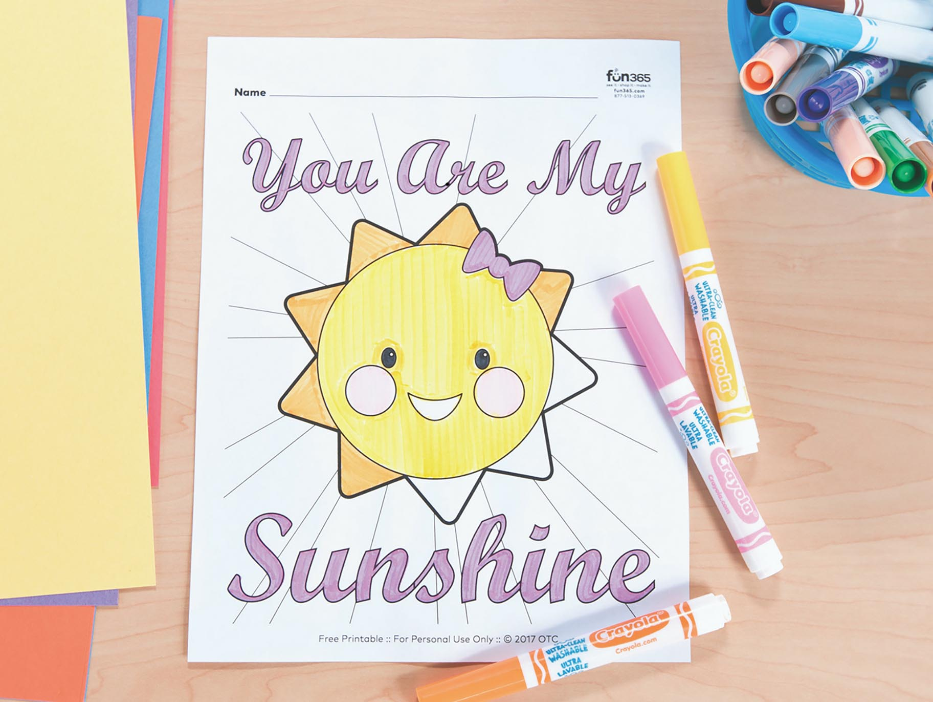 You Are My Sunshine Free Printable Coloring Page Fun365