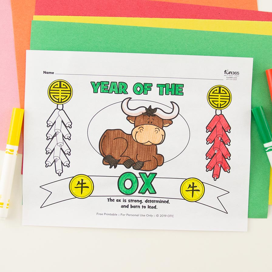 Chinese New Year Ox Coloring Page Free Printable   Fun18