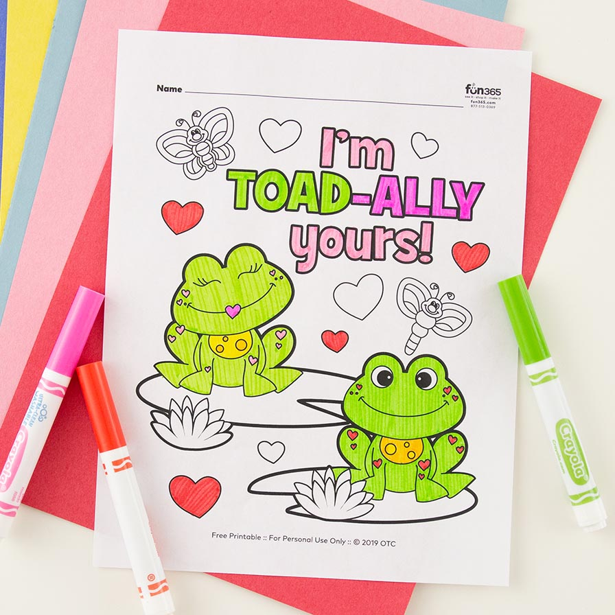 Toad Ally Valentine Frog Coloring Page Free Printable Fun365