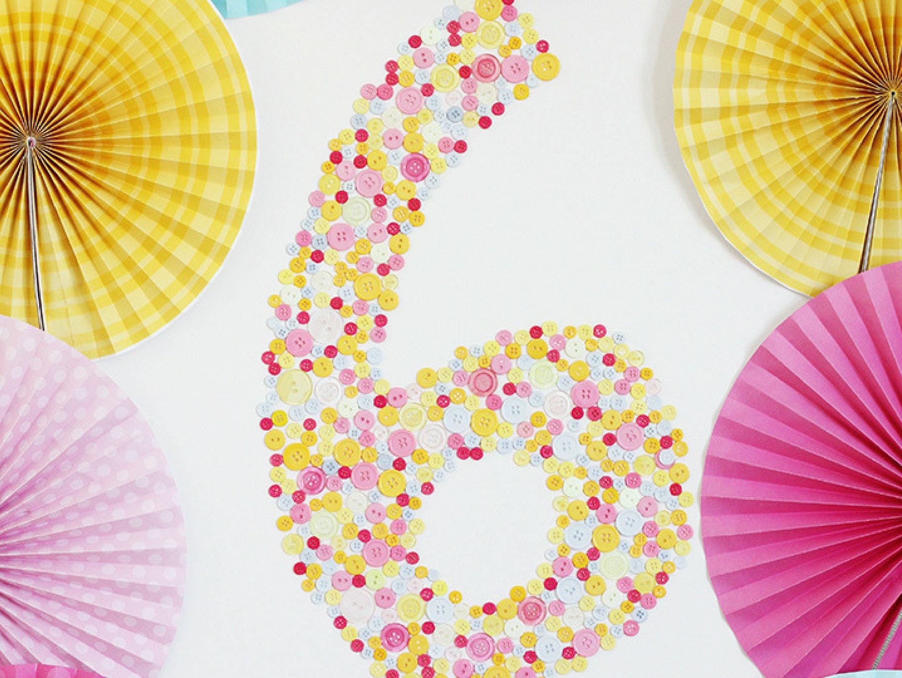 Diy Birthday Button Number Decor Fun365