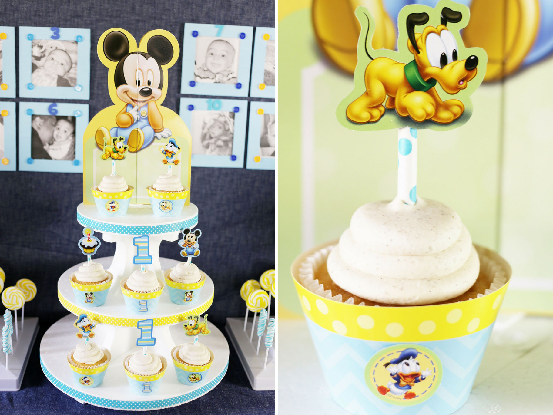 1st Birhday Mickey Mouse First Cup Cake Toppers Edible Party Decorations