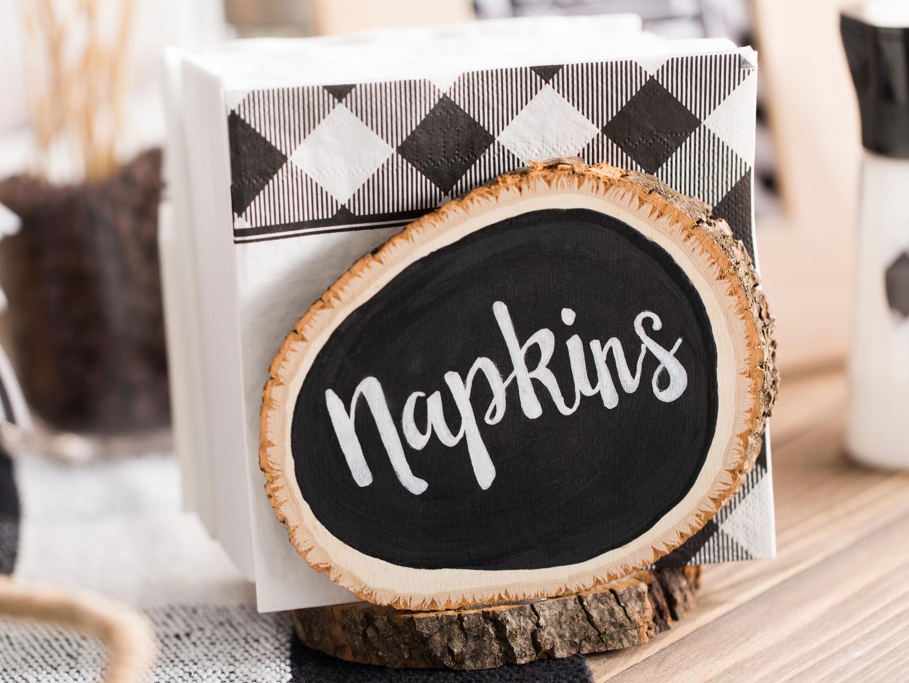 Diy Wood Slice Rustic Napkin Holder Fun365