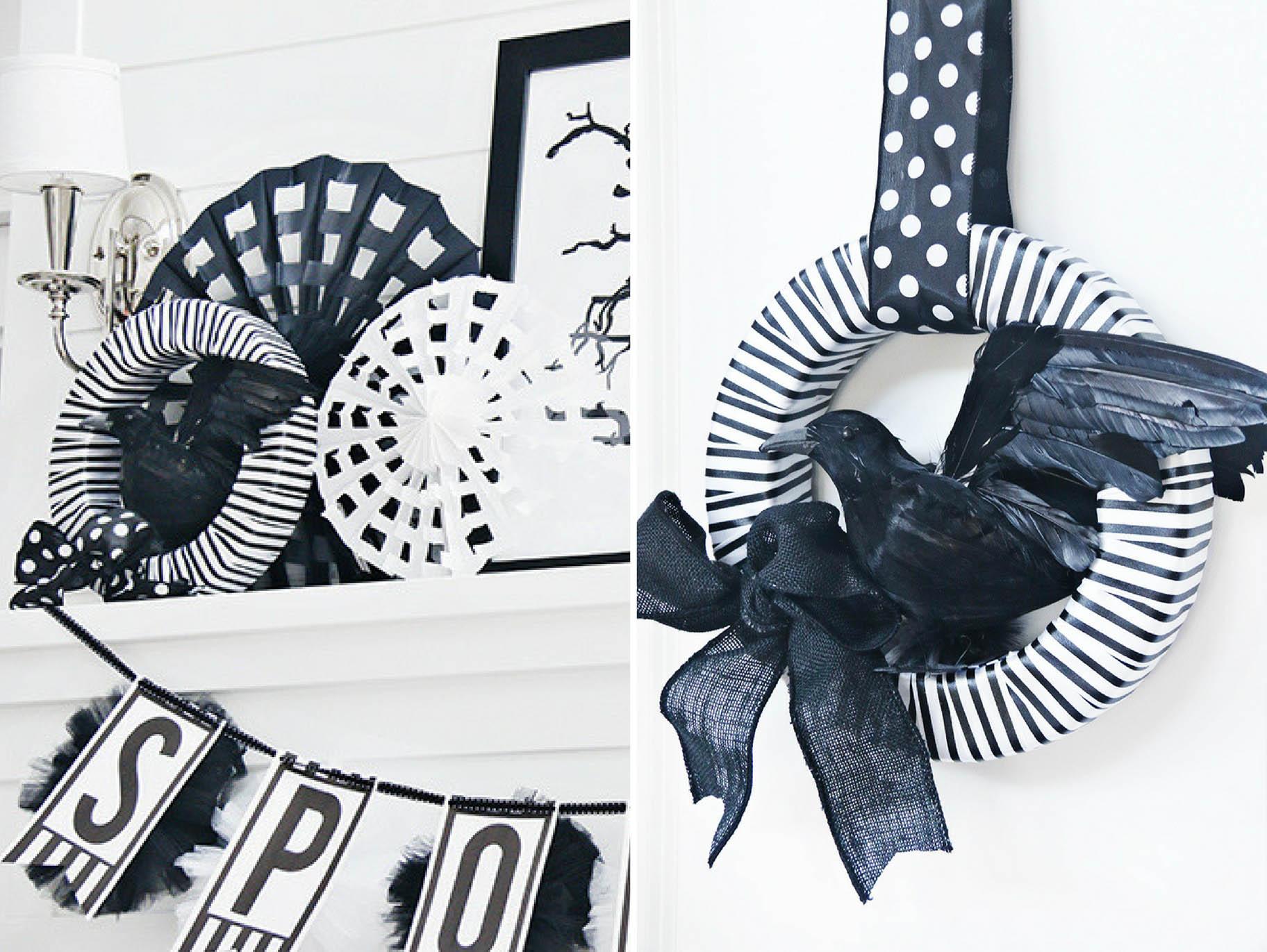Diy Black And White Halloween Wreath Fun365