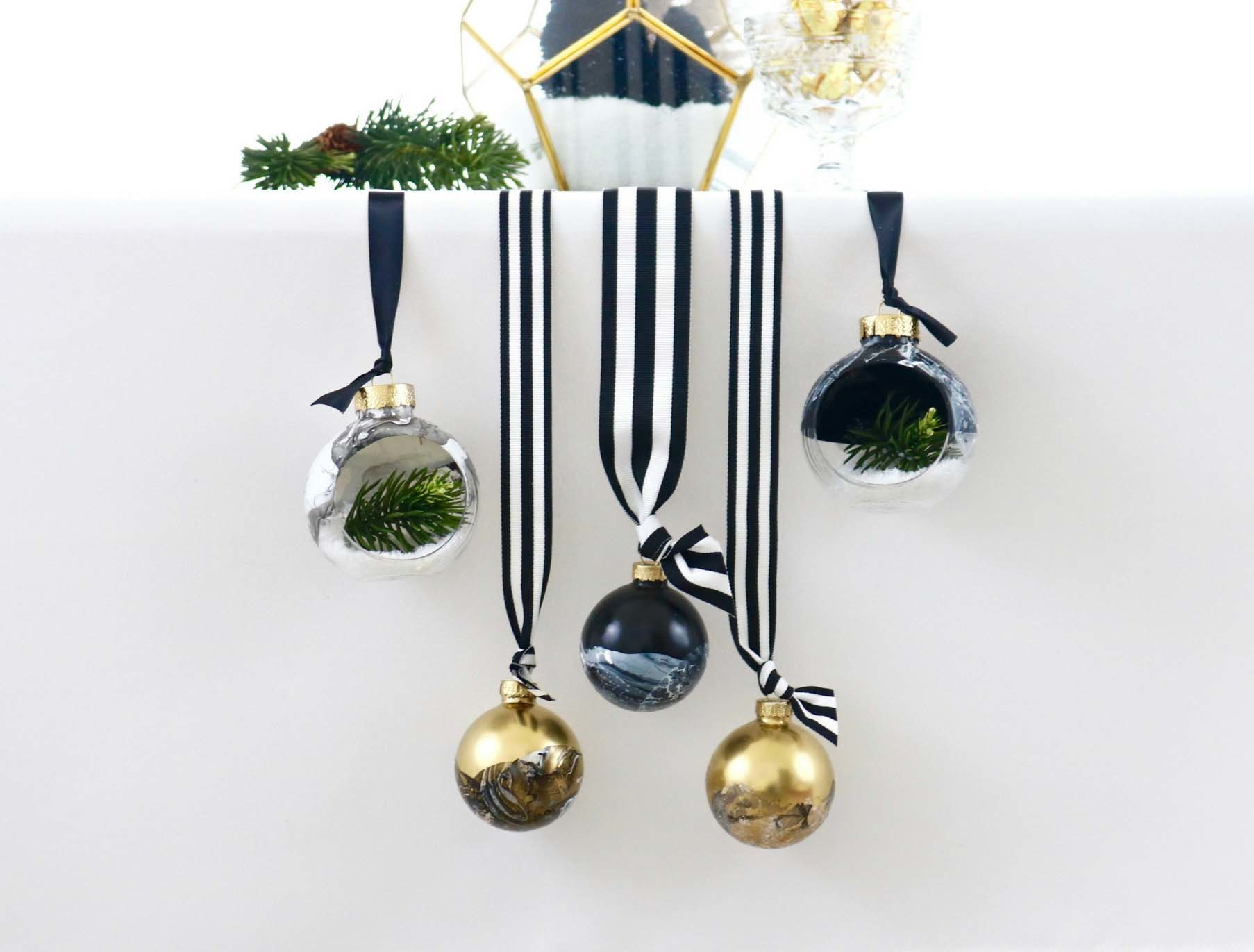 DIY Black and White Marbled Ornaments