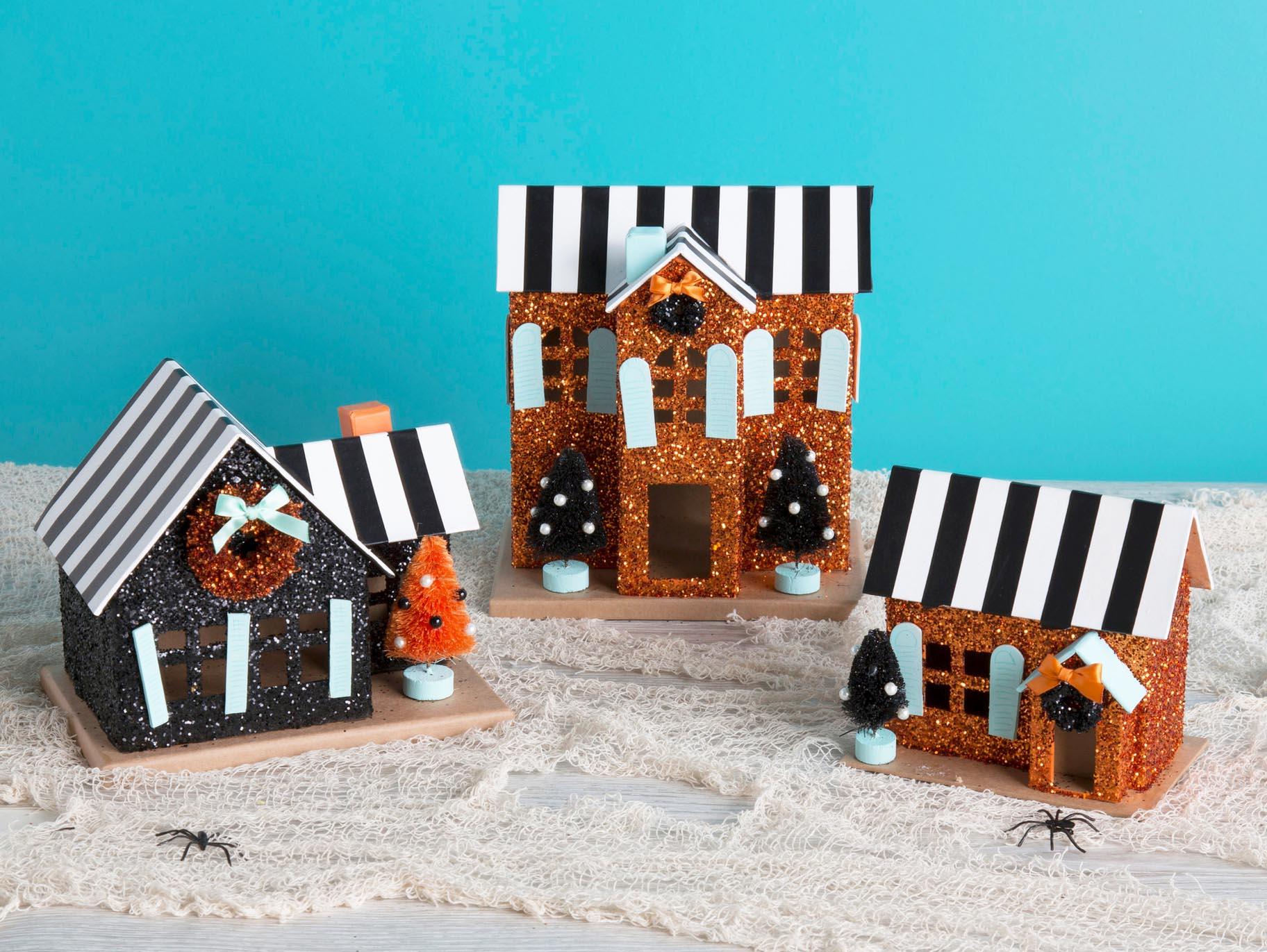 DIY Vintage Glitter Halloween Houses  Fun18