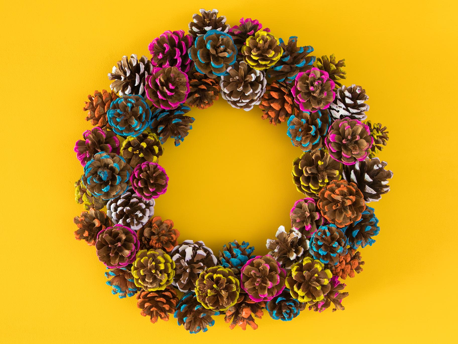 Diy Colorful Pine Cone Fall Wreath Fun365