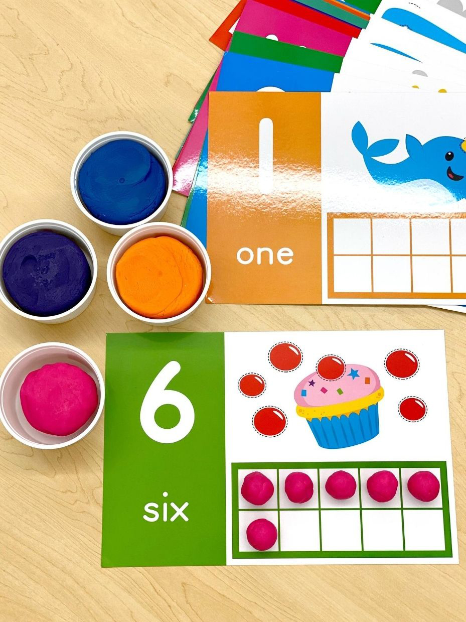 Ten Frame Dough Counting Mats