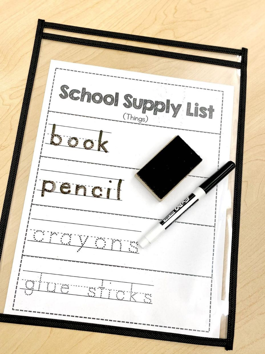 Black Top-Loading Dry Erase Pockets