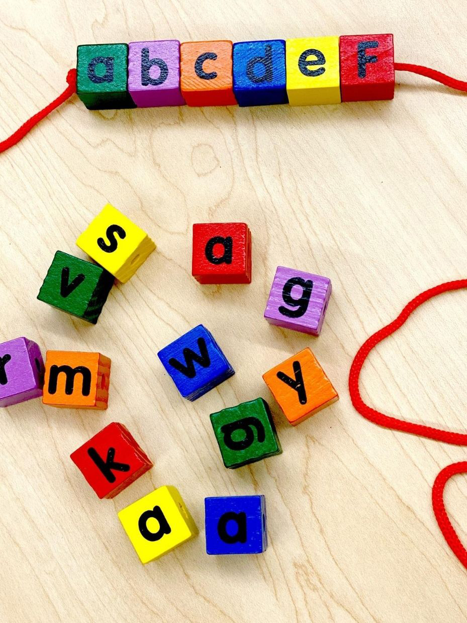 Wonderful Wood Alphabet Lacing Beads