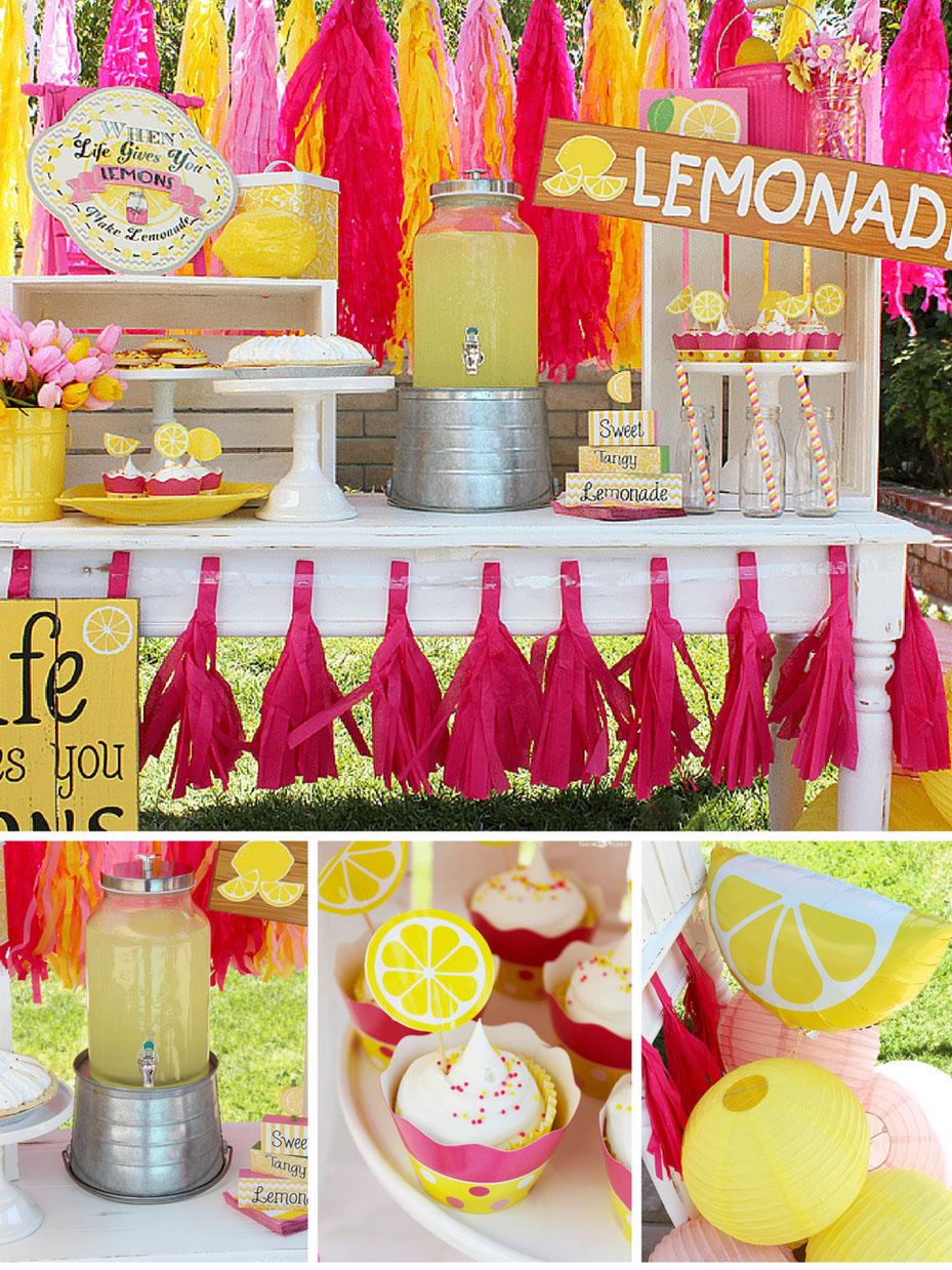table confetti lemonade decorations summer party decorations