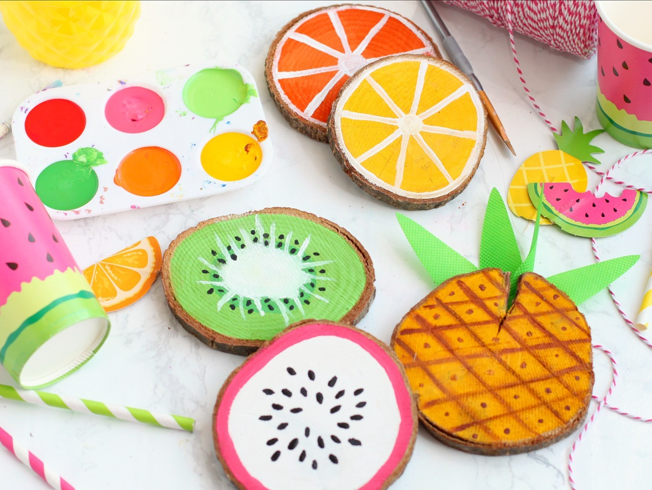 Painted Fruit Coasters Fun365