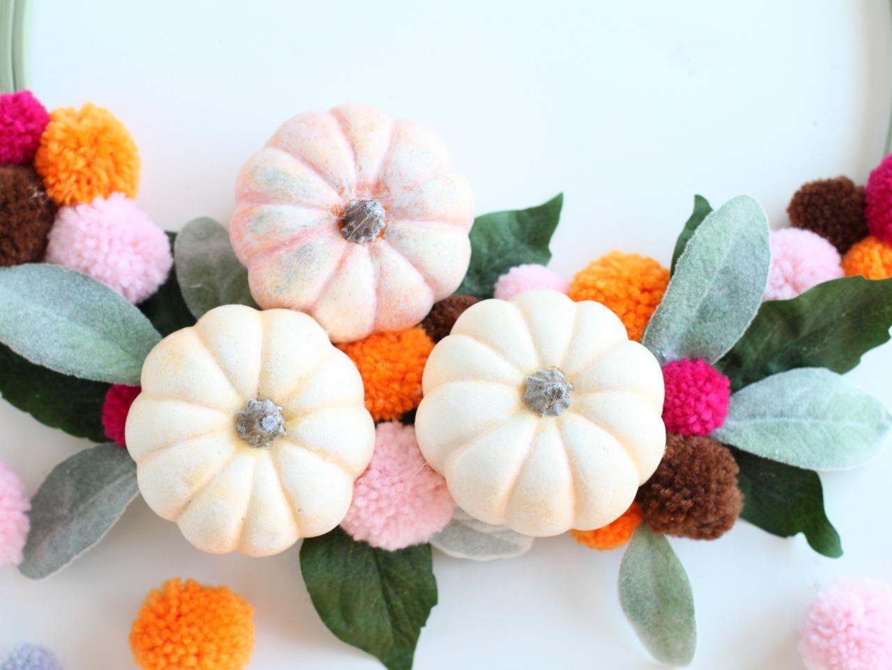 Pumpkin And Pom Pom Hoop Wreath Fun365