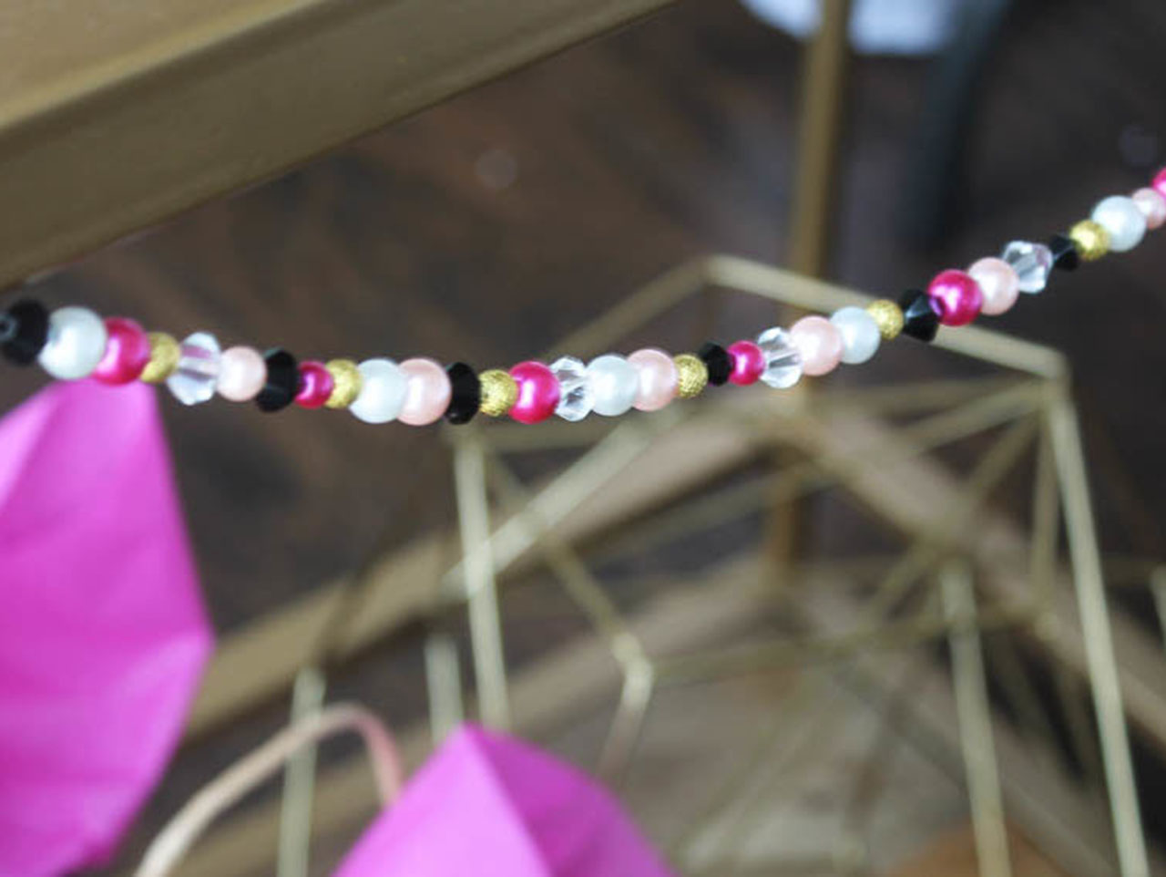 Hot Pink Black And White Wedding Diy Bead Garland Fun365
