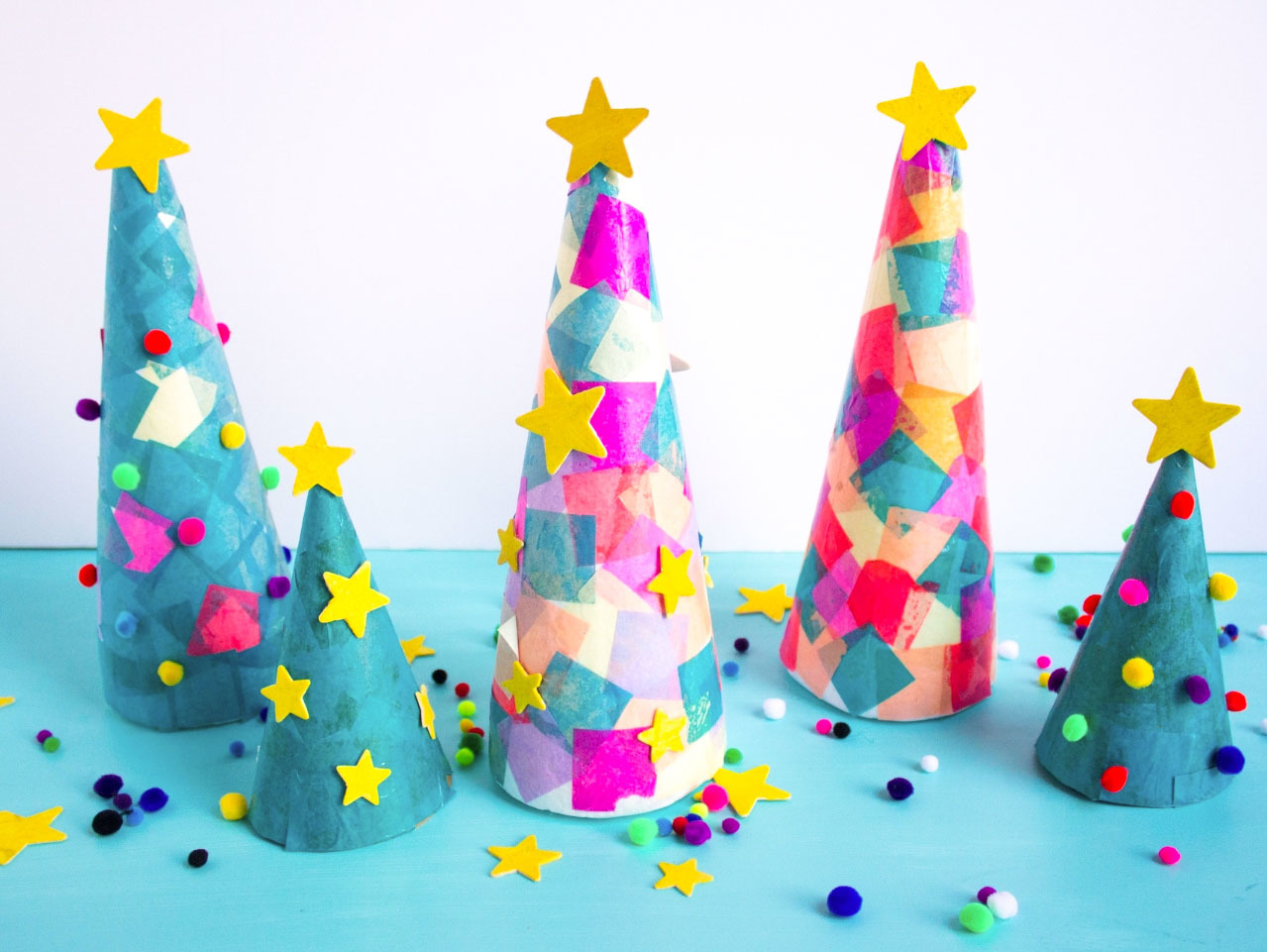Tissue Paper Cone Christmas Trees Fun365