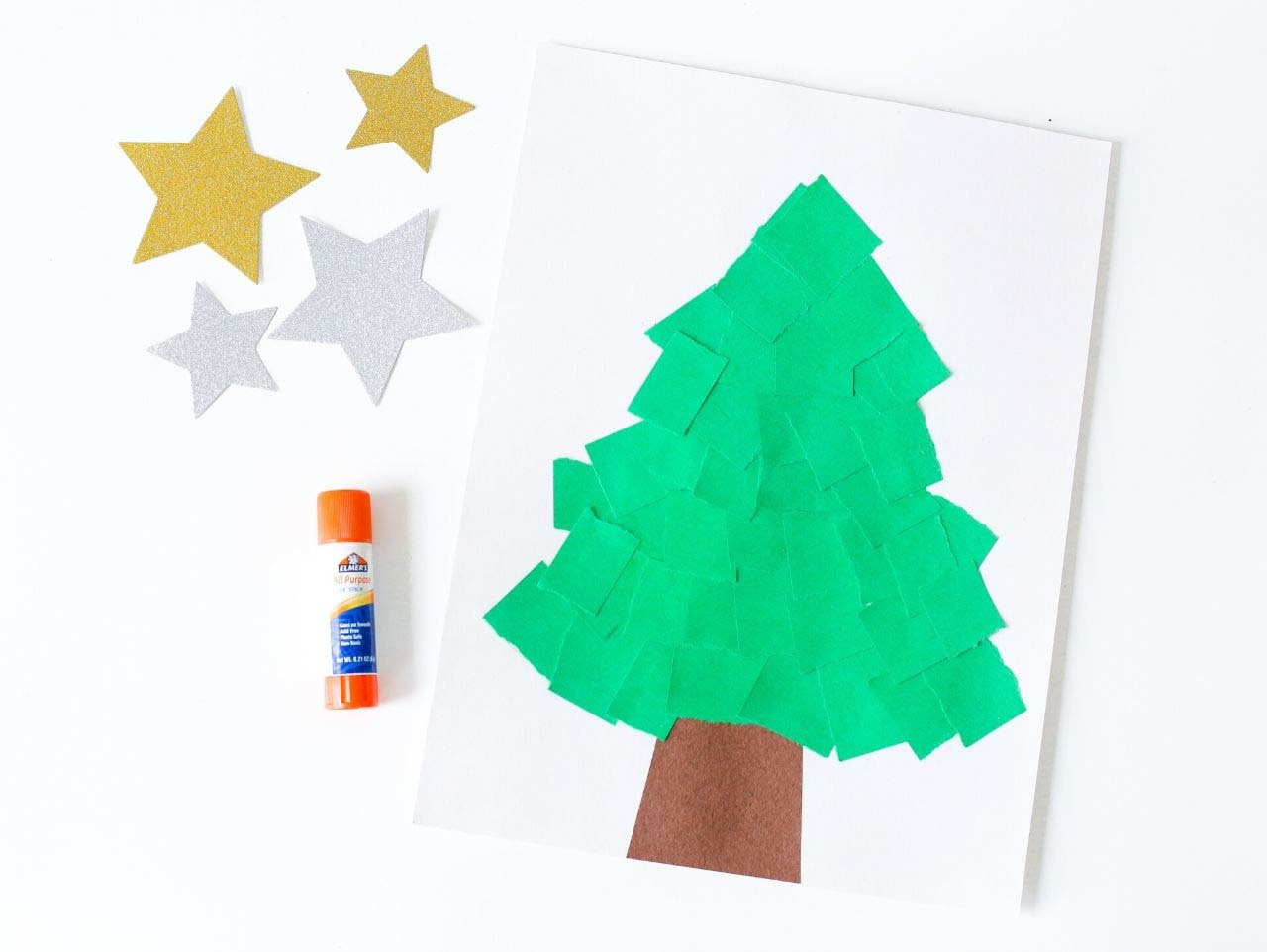 Torn Paper Christmas Tree Kids Craft
