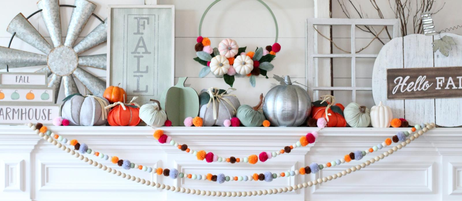 Wood Bead And Pom Pom Fall Garland Fun365