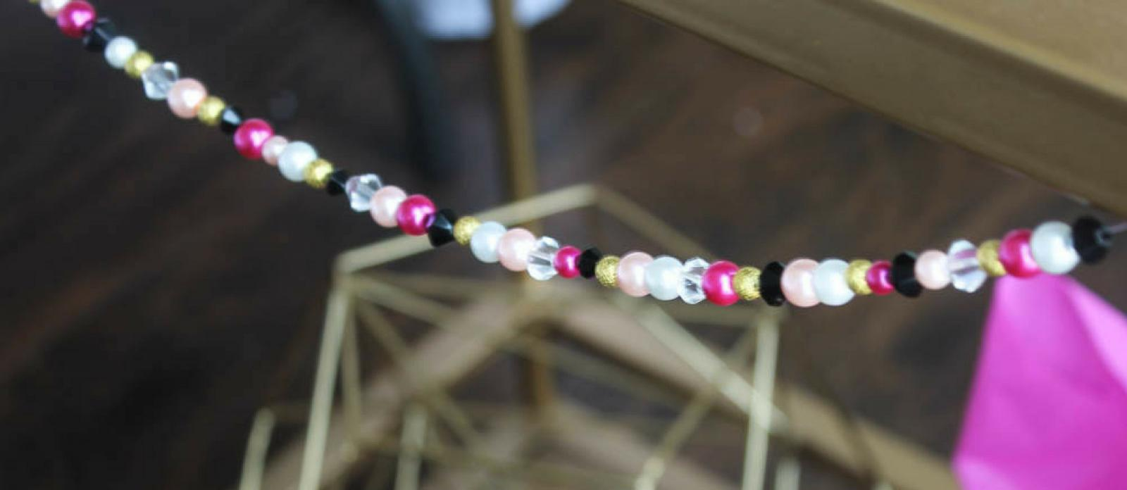 Hot Pink Black And White Wedding Diy Bead Garland Fun365