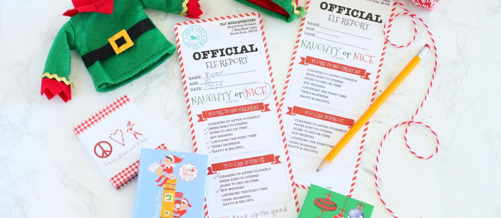 Elf Report Card Free Printable Fun365